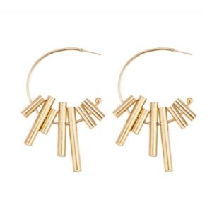 Gold Crafted Wind Chime Hoop Earrings